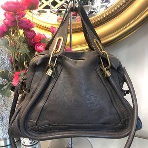 CHLOE Large Paraty Taupe Leather Satchel Handbag